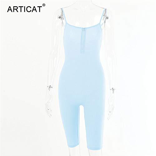 PDHJHT Cremallera de Punto Acanalado Bodycon Playsuit Mujer Correa de Espagueti Backless Skiny Body 2020 Summer Rompers Womens Jumpsuit M Blue