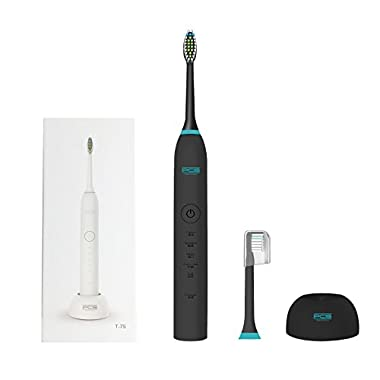 PCS Professional Sonic Electric Toothbrush Wireless Rechargeable Battery 5 Brushing Mode Last for 30 Days with Replacement Heads (Black)