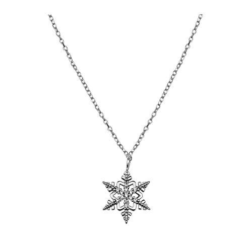 SOFIA MILANI - Collar para Mujeres en Plata de Ley 925 - con Circonitas - Colgante de Estrella en Forma de Copo de Nieve - 50260
