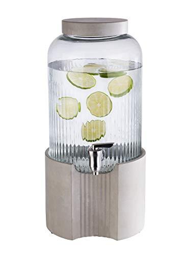 """APS Getränkespender """"Element"""" – Premium Spender für Getränke aus Beton, 7 Liter, Glas und rostfreiem Edelstahl mit dicken, stabilen Wänden und einer weiten Öffnung für Zutaten"""