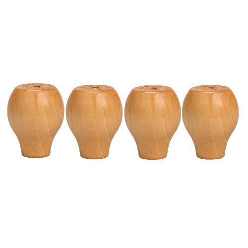 Piedini per mobili in legno massello, gambe di supporto rotonde, divano, piedino per tavolino da caffè, set di 4 pezzi in legno naturale, 6 cm / 2,5 pollici