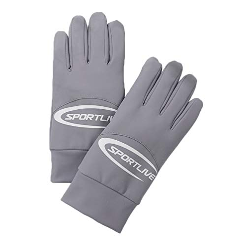 KESYOO 1 Pair Touchscreen Gloves Winter Gloves Eslatic Cycling Gloves Full Finger Mountain Bike Gloves for Biking Workout Grey