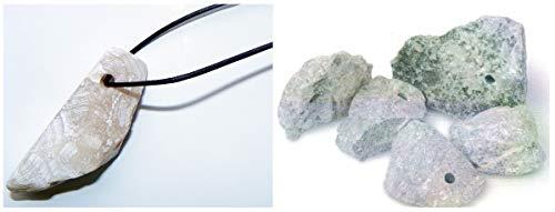 artdee 15 Speckstein Amulett-Anhänger mit Loch und 15 Ledebändern