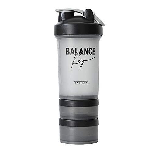 mingtian Botella de coctelera Deportiva de 500 ml con agitador de proteína de Metal Tapa a Prueba de Fugas Fitness Gym Shaker Hervidor de Agua de plástico portátil Botellas de Agua 2