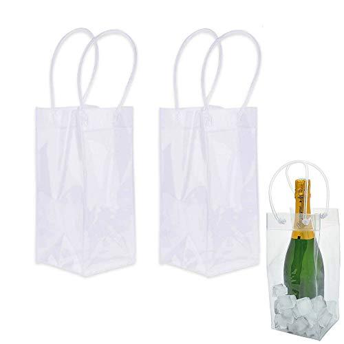 Nuluxi Eisbeutel Flaschenkühler Tragbare Wein Eisbeutel Flaschenkühler Tasche Auslaufsichere Eistasche PVC Eistasche Kühltasche Mit Griff für Party, Outdoor, Champagner, Kaltes Bier, Weißwein(2 Stück)