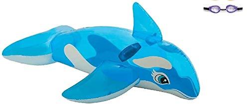 Bavaria Home Style Collection Wal Fisch Ride On Schwimmtier Reittier Wassertier Badetier Luftmatratze Wasser-Spielzeug Pooltier Inflatable aufblasbar für Kinder Pool 152 x114 cm Groß ab 3 Jahre Blau