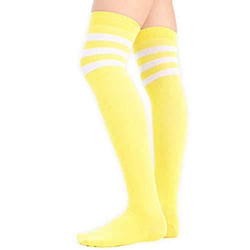 adam & eesa Damen Frauen über Dem Knie Färbten 3 Gestreifte Socken Schenkel Hohe Strümpfe