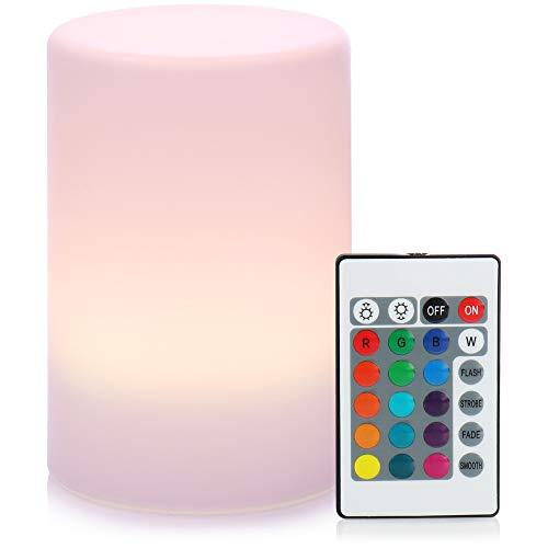 com-four® LED Tischlampe mit Farbwechsel - LED-Licht mit Fernbedienung - Nachtlicht batteriebetrieben - Dekoleuchte für innen und außen