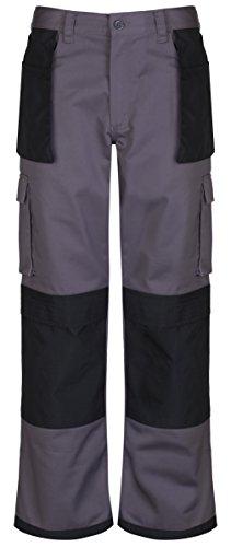 Safety-site SAFT3-GRBK-42-S T3 - Breve 300gsm pantaloni da lavoro resistenti 42 x 29 pollici con supporto tasca cordura ginocchio - grigio/nero