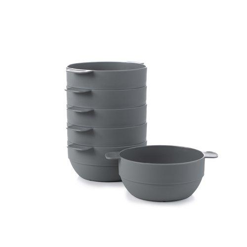 Amuse- Unbreakable & Stackable Bowls  - 6 pcs- 16.9 oz (Gray)