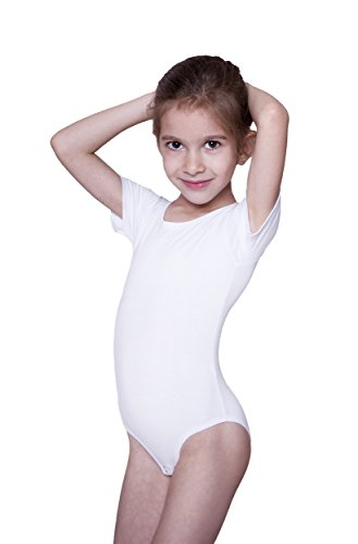 Evoni Kinder Kurzarm-Body mit Rundhals-Ausschnitt in Weiß mit Druckknöpfen im Schritt | Gr.98 | angenehme Kinderwäsche aus Baumwolle | pflegeleicht & komfortabel | Turnbody Gymnastikanzug