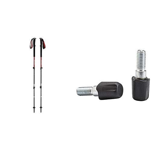Black Diamond - Bastones de Senderismo (2 Unidades), Color Rojo y Negro + Diamond Tech Tips-Rubber Bastones Accesorios, Unisex-Adult, No Color