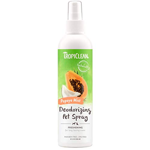 TropiClean Papaya Mist Deodorizing Pet Spray, 8oz - Helps Break Down Odors to Effectively Deodorize Dogs and Cats, Paraben Free, Dye Free, Made in the USA