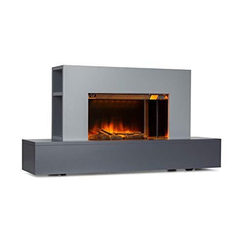KLARSTEIN Heat 'n Beat - Chimenea eléctrica, Potencia 900/1800 W, para Salas de hasta 36 m², Altavoces con Bluetooth, Puerto de Carga USB, Llamas LED 3D, Mando a Distancia, Madera Decorativa, Gris