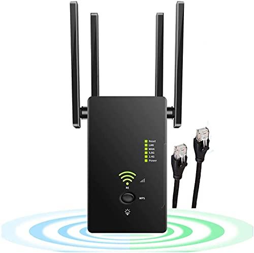 Ripetitore WiFi Wireless, AC1200 Mbps Amplificatore Segnale Wi-Fi , velocità Dual Band 2.4GHz/5GHz Supporta la modalità AP/Ripetitore/Router, Porta Ethernet,WPS,con 4 antenne Esterne