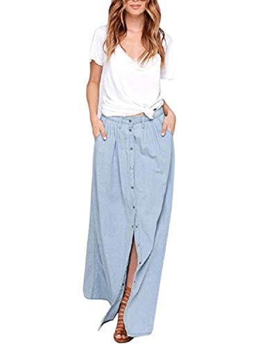Charles Richards Women Blue High Waist Button Fly A-Line Denim Maxi Long Skirt,Blue02,Medium