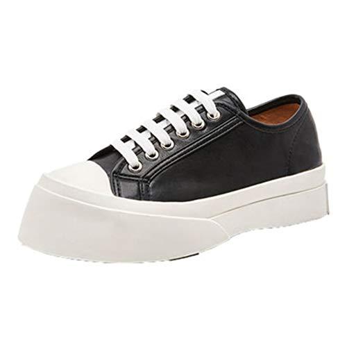 Zapatos de Plataforma para Mujer con Cordones Diarios, Suela Gruesa, Zapatillas para Vestir, cómodos, para Exteriores, Zapatos Creepers, Caminar Diario