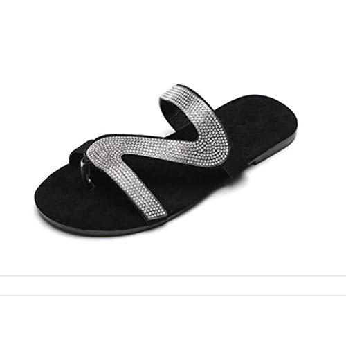 LLEH Sandalias Zapatos de Mujer Verano Roma Estilo Diamantes Zapatillas, para Mujer Zapatos de Plataforma Plana,37