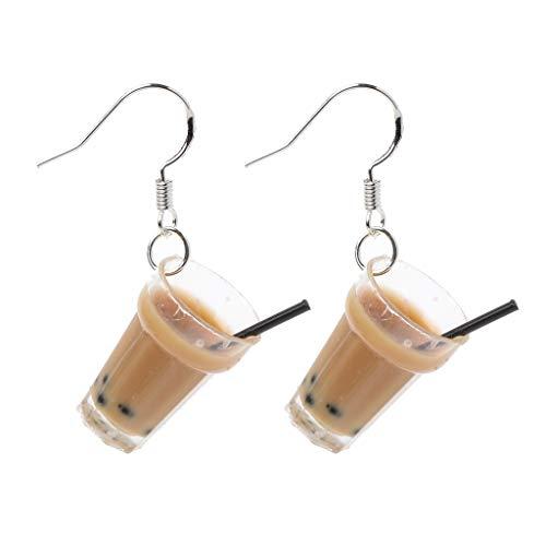 fivekim Divertidos Pendientes de Perlas de Resina S925 con Perlas de Leche, té y té, Pendientes de Gota para Mujer
