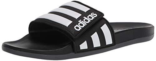 adidas Men's Adilette Comfort Slide Sandal, Core Black/White/Grey, 12