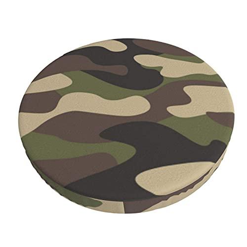 Funda De Cojín para Silla De Bar Redonda Camuflaje Militar Camo Abstracto Taburete De Bar Fundas De Asiento Funda Elástica para Taburete