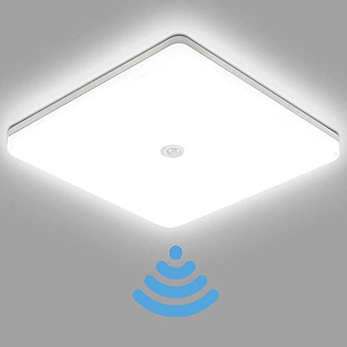 30W LED Deckenlampe mit Bewegungsmelder 3000 Lumen,Square Deckenlampe LED Deckenleuchte 6500K Kaltesweiß,IP56 Wasserdicht Badlampe,für Badezimmer, Wohnzimmer, Balkon, Flur Küche Ø25×25cm
