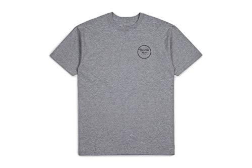 BRIXTON - Maglietta da Uomo con Scritta Wheeler II S/S Stnd Tee, Uomo, 06452, Grau, S