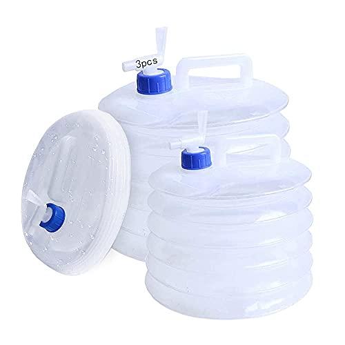 Anyingkai 3pcs Contenedor de Agua Plegable,Bidón de Agua PlegableContenedor de Agua Potable,Contenedor de Agua con Grifo,Cubo de Agua Plegable (10L) Material ecológico, Reutilizable.