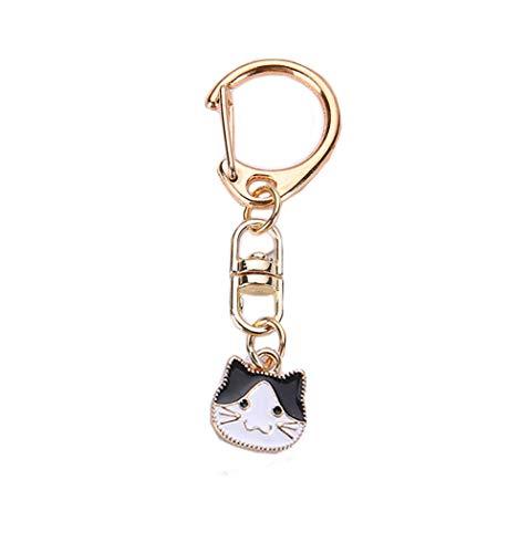 Dreamls Huisdier Sleutelhanger, Leuke Honden Katten ID Tag Sleutelhanger Memorial Metalen Sleutelhanger Handtas Auto Bedels Cadeau voor Liefde, Vriend, Zwarte Kat