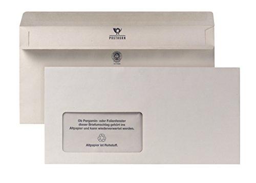 POSTHORN Briefumschlag DIN Lang (110x220mm) selbstklebend mit Fenster recy grau 75g 1000 Stück