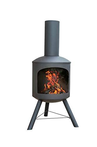 La Hacienda Modern Chimenea, Tall Log Burner (Large Garden Patio Heater, Fire Pit Wood Stove BBQ Chiminea)