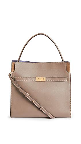 Tory Burch Women's Lee Radziwill Double Bag, Clam Shell, Brown, One Size