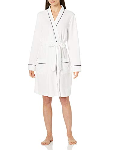 Amazon Essentials Albornoz Ligera de Longitud Media Bathrobes, Blanco, US L (EU L - XL)