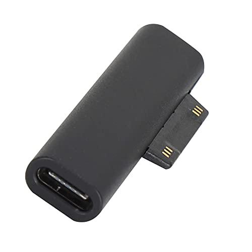 Adaptador de USB a CC de carga para computadora portátil, tipo C hembra a para Microsoft Adaptador de dispositivo de carga rápida tipo C con cabezal de succión magnética para Microsoft Pro3 / 4/5/6