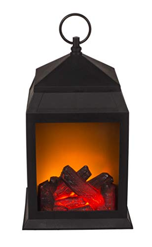 Bavaria Home Style Collection Laterne in Kamin Optik - Kunststoff - mit 6 warmweißen LED