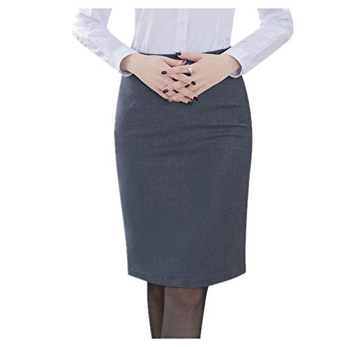 N\P Elegante falda lápiz de mujer cintura alta hasta la rodilla trabajo oficina bodycon falda - gris - XX-Large