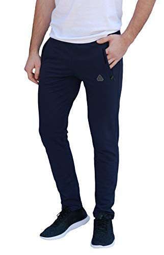 SCR SPORTSWEAR Men's All Day Comfort Tapered Slim Sweatpants Athletic Casual Lounge Pants Mens Running Joggers Long Inseam for Tall Men (L X 36L, Navy-K536)