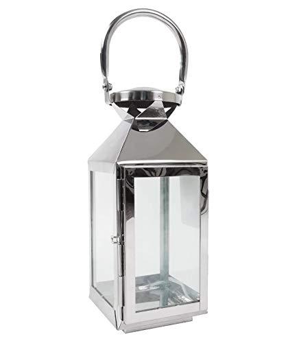 Emanhu Trading Edelstahl Laterne Windlicht mit Glasfenster Stilvolle Akzente Pyramide Kerzenhalter ca. 10x11x24/34 cm