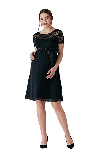 M.M.C. Delight Umstands-Kleid mit Spitze - Rückenausschnitt Schwangerschaftskleid Chiffon-Spitzenkleid Abendkleid Cocktailkleid für Hochzeit Standesamt - Knielang (Schwarz, 42)