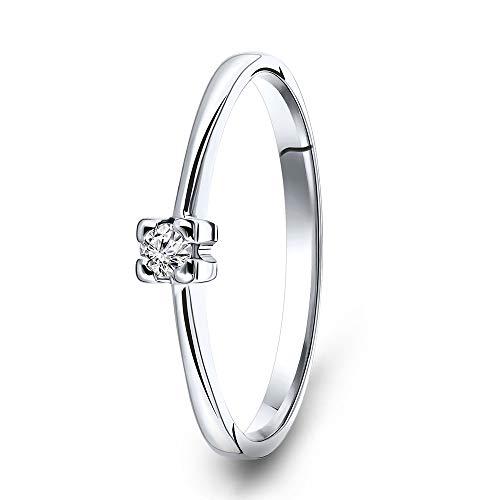 Miore anello di fidanzamento solitario in oro bianco 585/1000 14 kt con diamante taglio brillante 0,05 ct e Oro bianco, 8, cod. MU4004R48