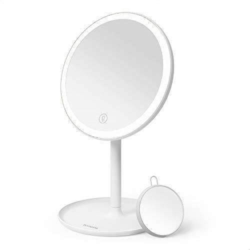 Tomons Specchio Trucco con Luce LED, Effetto dimmer, Touch Screen, Luminosità Regolabile, USB Ricaricabile,con Specchietto Ingranditore 5X e Vassoio, Bianco