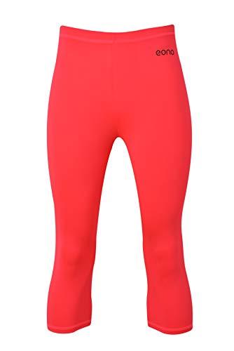 Eono Essentials - Mallas de yoga pirata elásticas para mujer con cintura media (rosa, L)