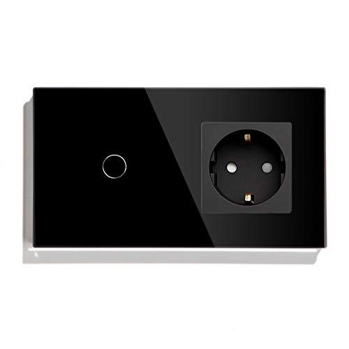 BSEED Touch Light Schalter mit Schuko Steckdose Glasrahmen Plug Sockel 1 Fach 1 Weg Design Glas Touch Schalter Wandschalter Schwarz