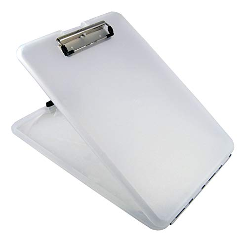Saunders Clear SlimMate Plastic Storage Clipboard – Polypropylene Recordkeeping Tool with Storage Compartment. Office Supplies