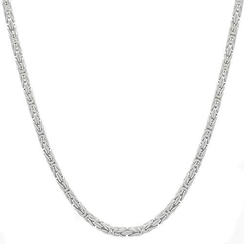 Herren 925 Silber Königskette Silberkette 5x5mm BREIT ca.65cm Länge Panzerkette Halskette Hip Hop Rap Kette Necklace Silver SK-01 & 1x Gratisartikel Lederschmuck