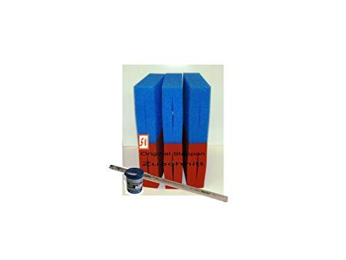 Steppan 6 Stück Filterschwamm 3 x Blau und 3 x Rot geschlitzt passend für Oase Biotec 10 – Plus – 1 x Philips UVC 25 Watt TL und 100ml Biokick Filterstarter.