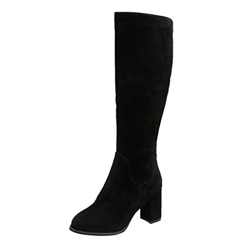Lowest Price! Briskorry Shoes Women's Suede Mid-Calf Boots Ladies Round Toe High Chunky Heels Winter...