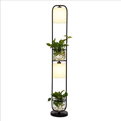 Staande lamp met planken, hoge hoeklampen met plank, staande lamp met 2 glazen bakken voor woonkamer, slaapkamer op bed, eenvoudige stand-up lamp met soft-diffused uplight