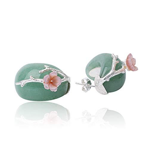 Regalo para Navidad JIANGYUYAN S925, pendientes de botón de plata esterlina, flor de ciruelo, cristal rosa natural, joyería única hecha a mano para mujeres y niñas(Green-Silver)