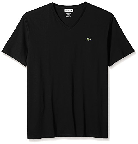 Lacoste Men's Short Sleeve V-Neck Pima Cotton Jersey T-Shirt,Black,Large